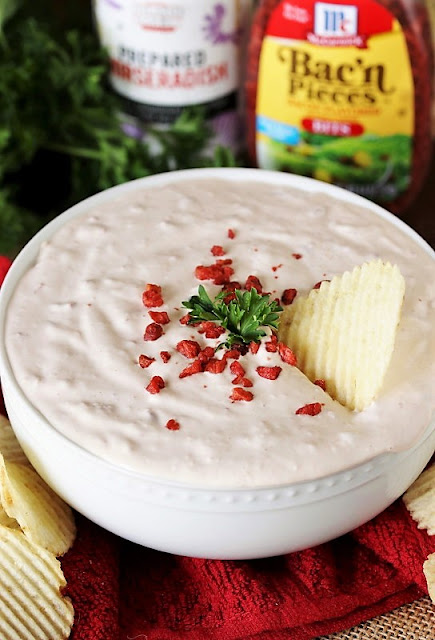 Bowl of Homemade Bacon Horseradish Dip Image