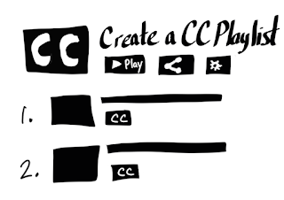 Create a CC playlist with CC written in white in black box with play and share buttons
