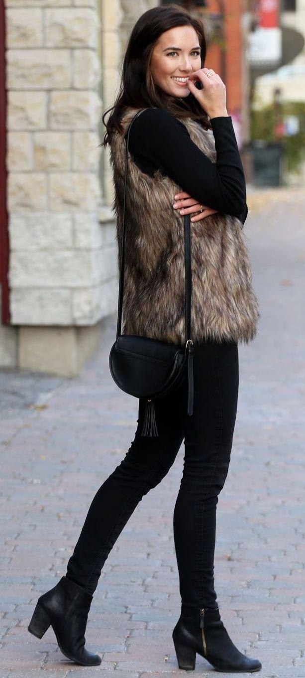 Faux Fur Vest & All-Black