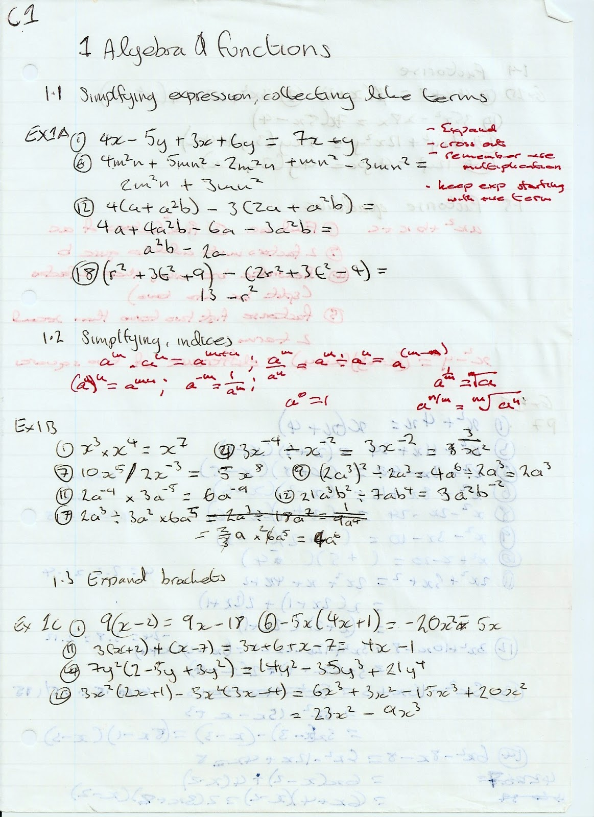 A Level Maths Notes Edexcel C1 1 Algebra And Functions