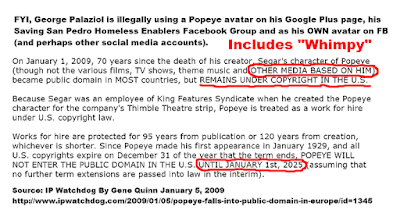 Popeye and other media based on him not legal in U.S. until 2025 George Palaziol breaking IP laws