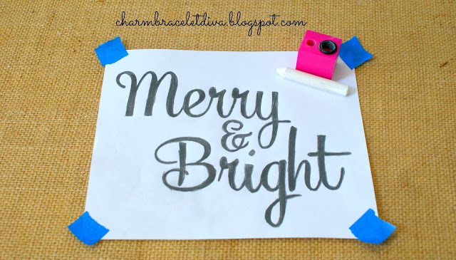 Merry & Bright printed for reverse chalk transfer