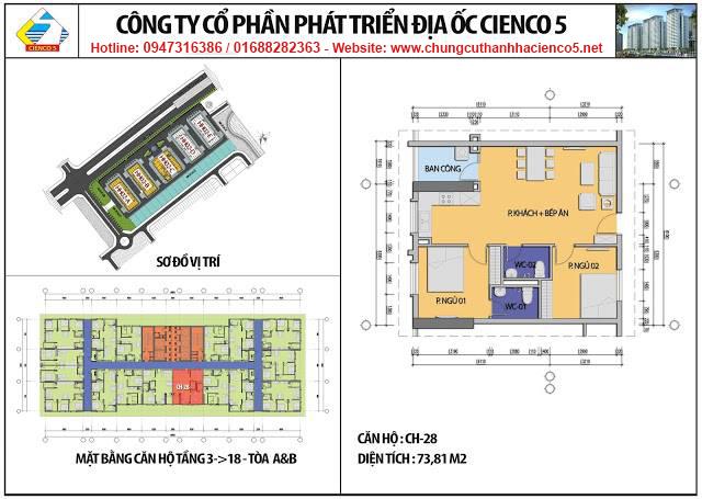 Sơ đồ thiết kế căn 28 chung cư B2.1 HH02A&B Thanh Hà Cienco 5