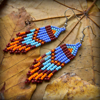 Small beaded earrings, hippie earrings, boho earrings, seed bead earrings, beadwork jewelry, colorful dangle earrings, ethnic earrings