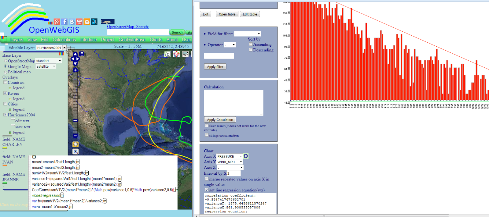 OpenWebGIS is free online GIS: Maps, hurricanes and linear