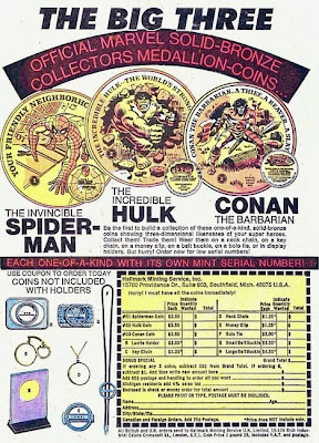 Spider-Man, Hulk and Conan Marvel medallion coins