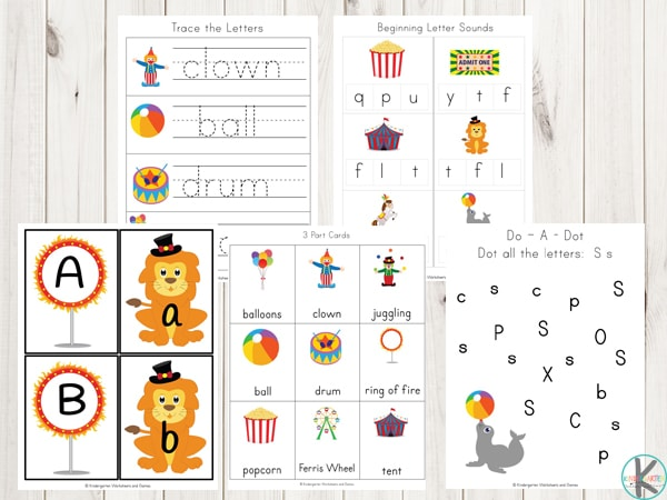 circus-clown-alphabet-worksheets