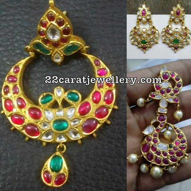 Colorful Rubies Large Peacock Chandbalis