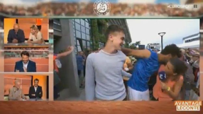 Tennis star, Maxime Hamou banned from French Open for kissing female presenter on live TV (Video)