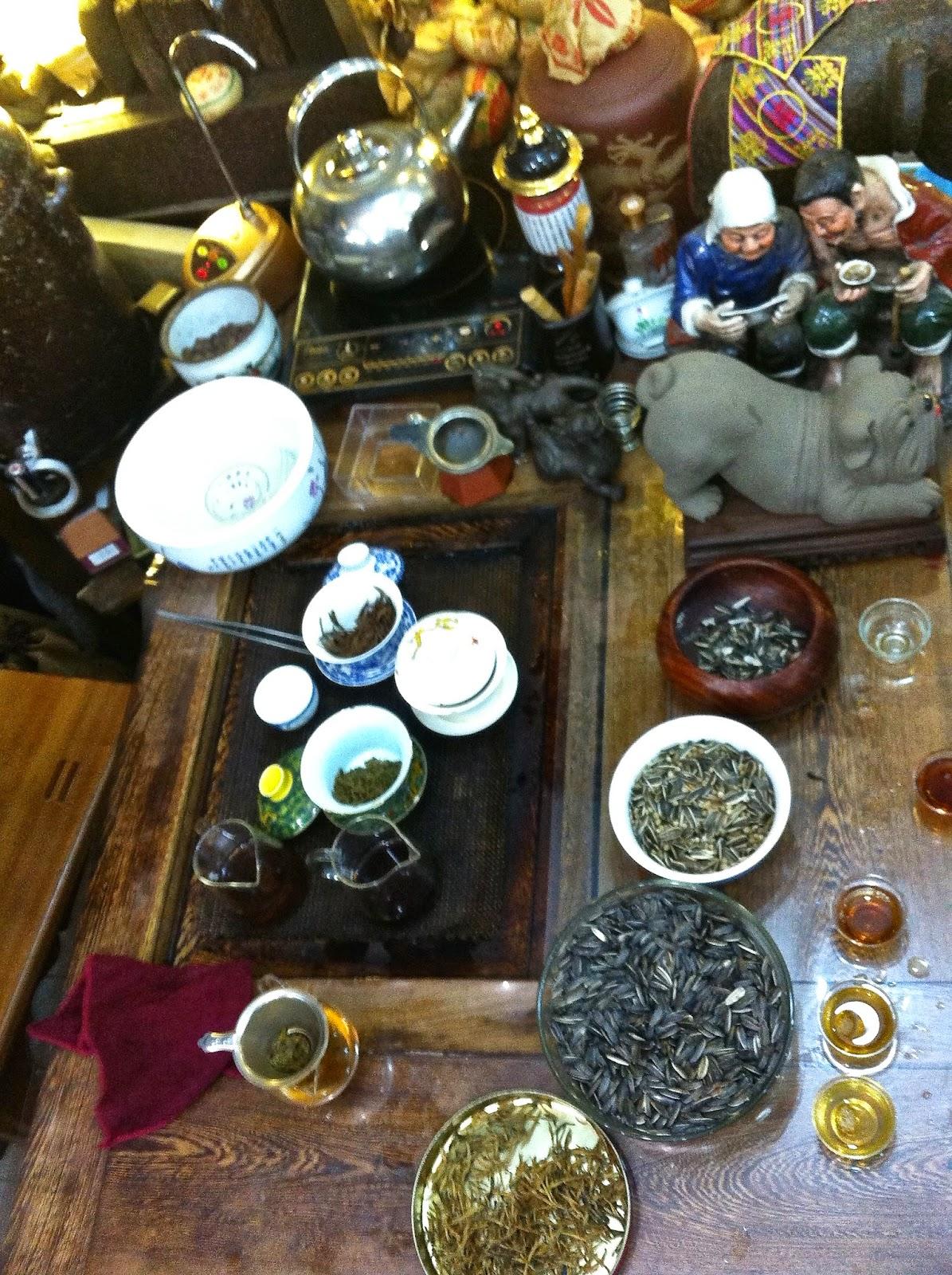 The tea tasting set-up