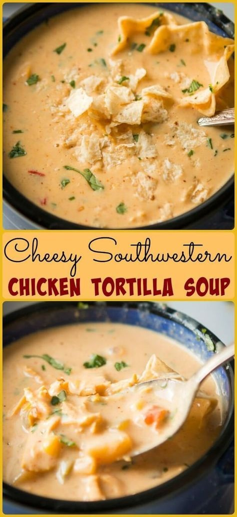 Cheesy Southwestern Chicken Tortilla Soup
