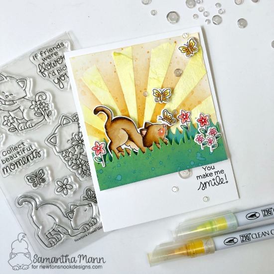 at Chasing Butterfly Card by Samantha Mann | Newton's Flower Garden Stamp Set, Sunscape Stencil, and Land Borders Die Set by Newton's Nook Designs #newtonsnook #handmade