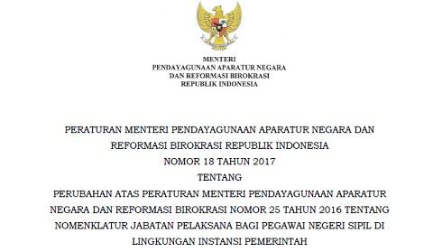 PermenPANRB No 18 Tahun 2017 Tentang Perubahan Atas PermenPANRB No 25 Tahun 2016 Tentang Nomenklatur Jabatan Pelaksana Bagi PNS Di Lingkungan Instansi Pemerintah