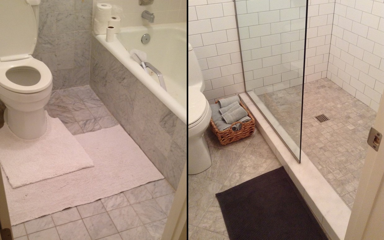 Ceramictec tampa florida tile contractor blog 2017 4x8 white subway tile on shower walls 2x2 mosaic shower floor with a 12x12 diagonal porcelain tile on main floor tile beforeandafter shower bathroom dailygadgetfo Gallery