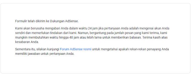 Tampilan pada Google AdSense, setelah mengirim Scan KTP