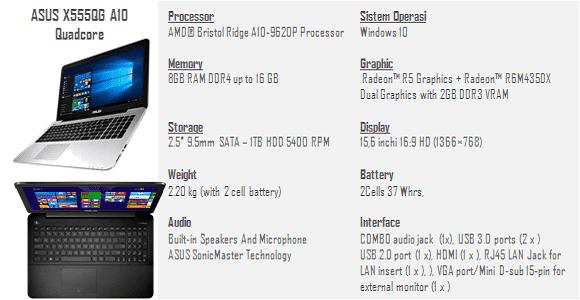 spesifikasi laptop ASUS X555QG AMD A10 Quadcore