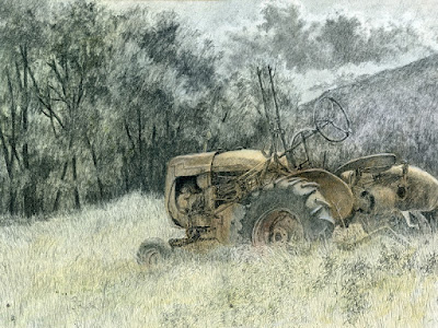 art drawing charcoal tractor farmall agriculture abandoned
