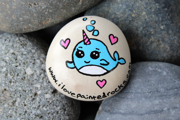 Narwhal rock painting idea - how to paint a narwhal