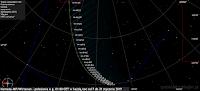 Położenie komety 46P/Wirtanen do końca stycznia 2019 r. każdej nocy o godz. 01:00 CET. W tym momencie znajduje się ona ponad 75 stopni nad horyzontem, w azymucie także 75 stopni, niewiele na północ od punktu wyznaczającego horyzont wschodni. To doskonałe położenie sprawia, że wpływ atmosfery ziemskiej na zaniżanie jasności obiektu jest marginalny, jednak z powodu rosnącej odległości od Ziemi jasność komety i tak ulega już wyraźnemu wytracaniu, skutkiem którego na przełomie stycznia i lutego jasność powinna spaść do 7 mag.