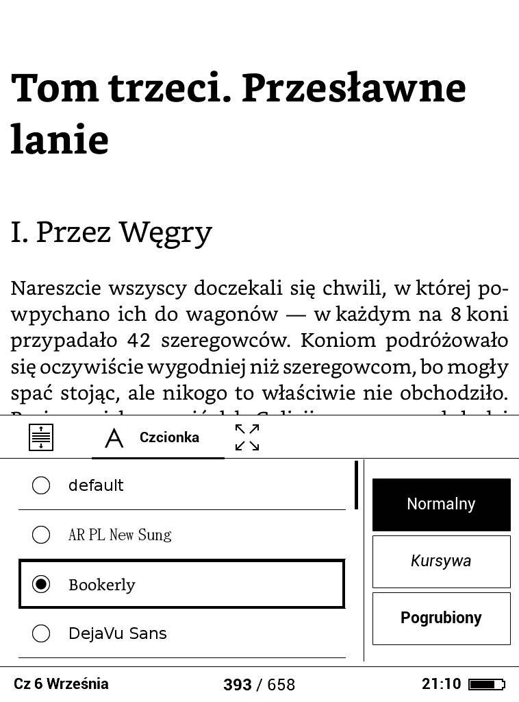 PocketBook Basic Lux 2 – teskt z ustawioną czcionką Bookerly
