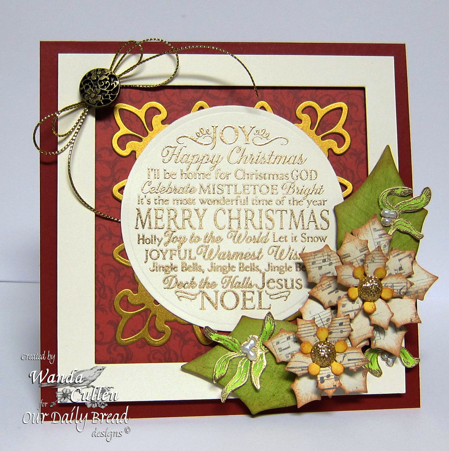 Stamps - Our Daily Bread Designs Noel Ornament, Mistletoe Ornament, ODBD Custom Matting Circles Dies, ODBD Custom Peaceful Poinsettias Dies
