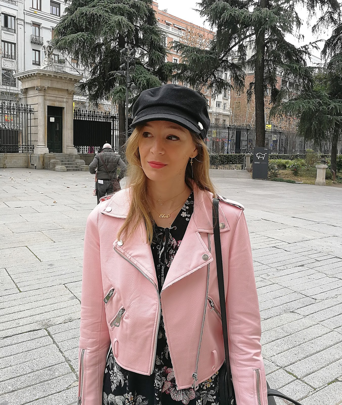 floral-skater-dress-pink-millenial-biker-zara-navy-cap-street-style