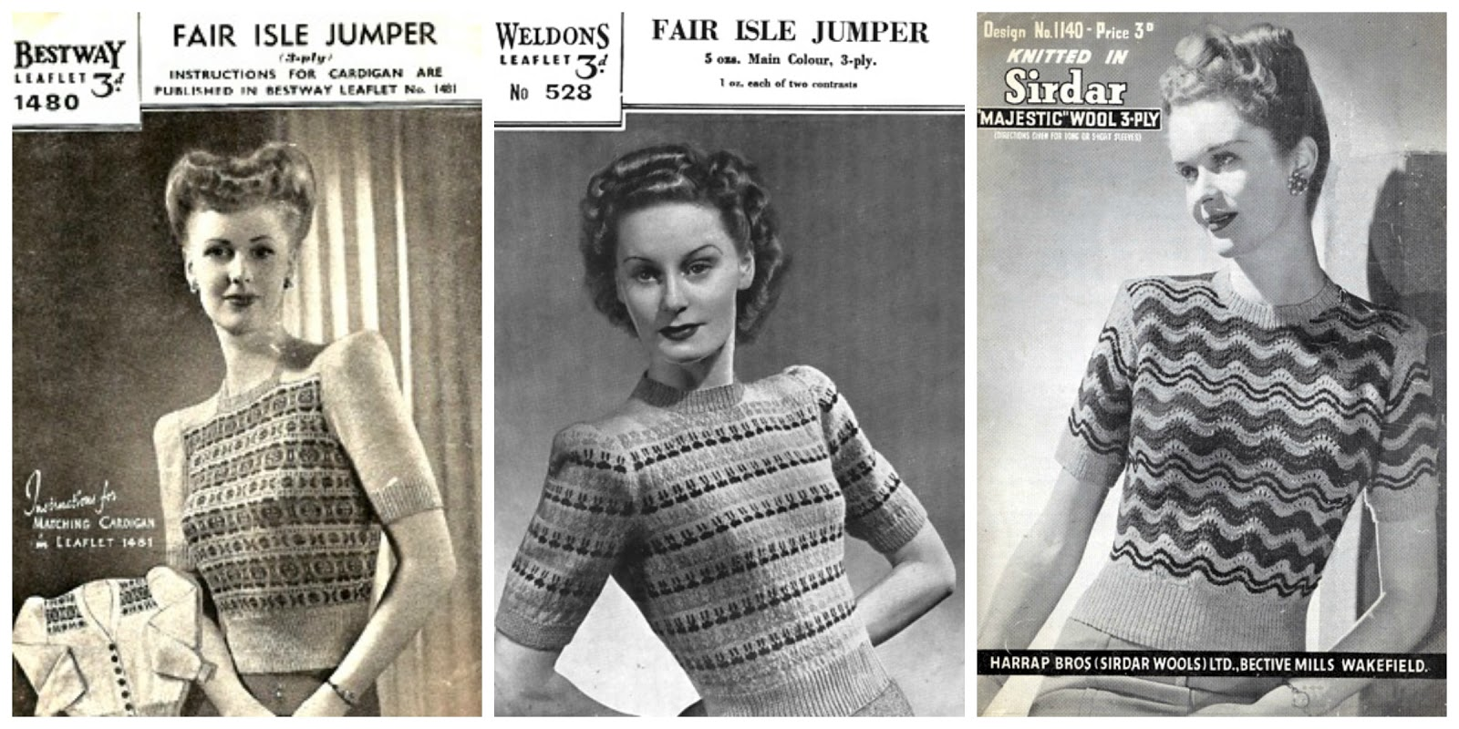 The Vintage Pattern Files: 1940\'s Knitting - Women\'s Home Fires Jumpers