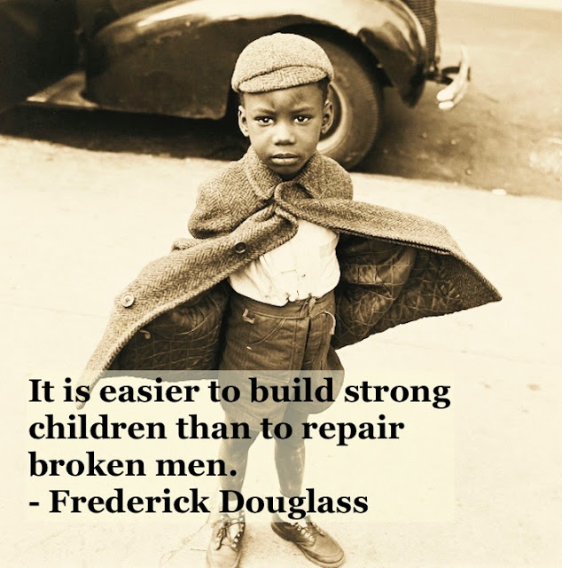 Photo young black child in dress clothes c 1940s Build strong children vote quote by Fredrick Douglass. Other stories of Racism and Civil Rights. Mr. Douglass has more to say. marchmatron.com