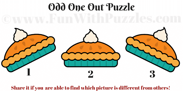 In this Odd One Picture puzzle, your challenge is find the cookie picture which is different from other two pictures