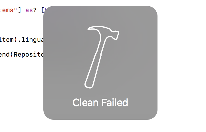 Cosa fare nel caso Xcode dia Clean failed