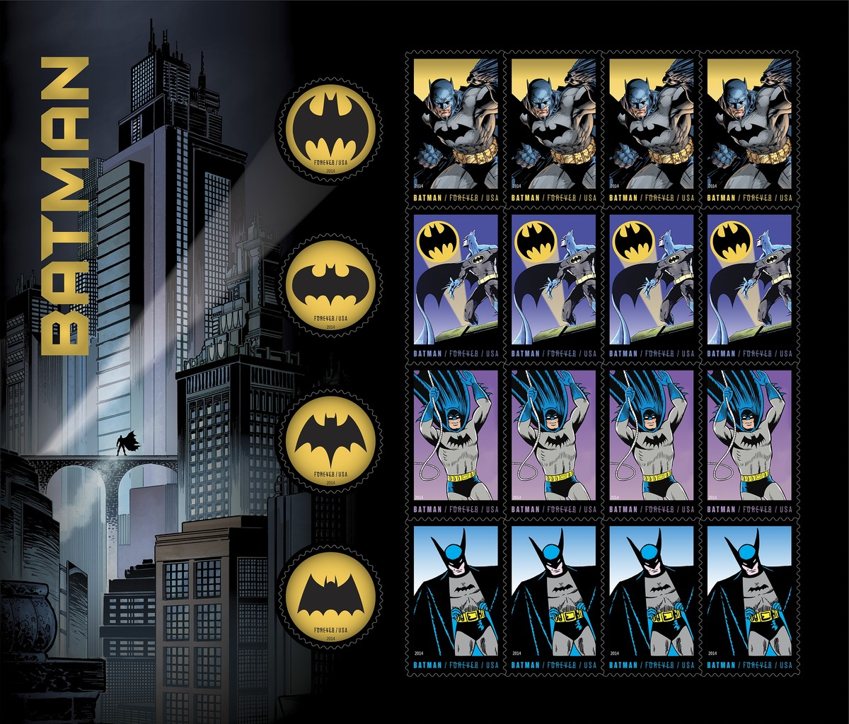Sheet of twenty stamps, four of each Batman and one of each signal/symbol