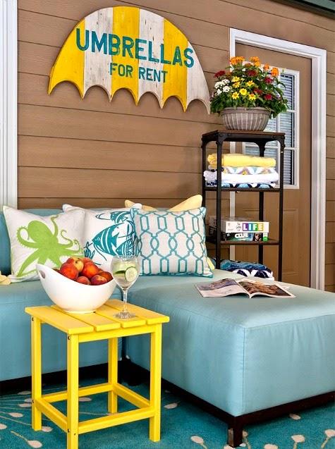 Yellow Decor for a Summer Porch