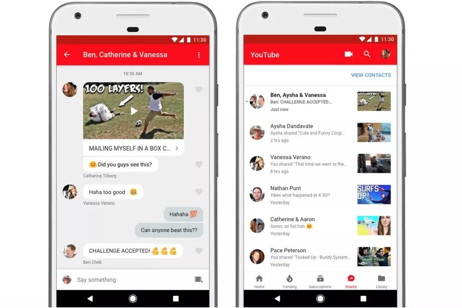 تحديث جديد لتطبيق اليوتيوب يمكن المستخدم من تبادل الفيديوهات والرسائل
