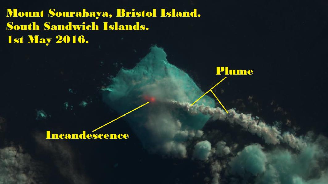 Eruption of Mount Sourabaya on Bristol Island 2016. IMAGE: Landsat 8/USGS/NASA. Annotated by René Goad.