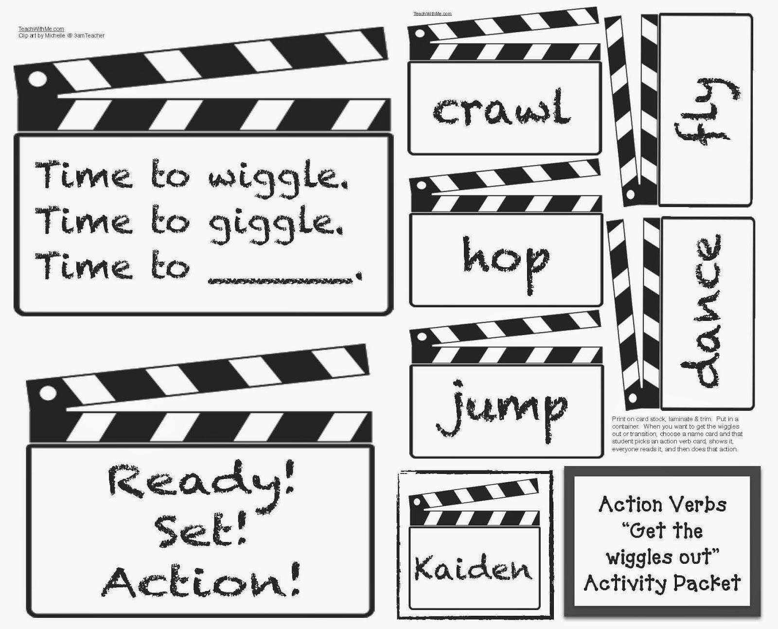 Classroom Freebies Action Verbs Activities For Classroom Management