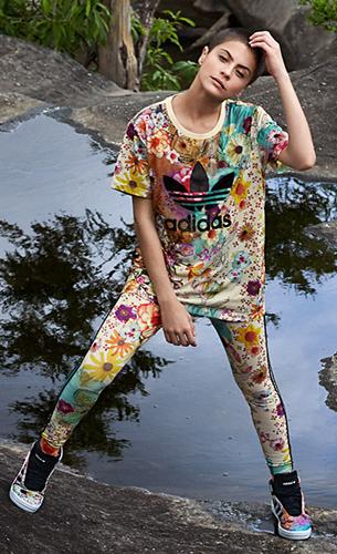 Farm e Adidas Originals quarta coleção t-shirt, calça legging e tênis estampa Confete