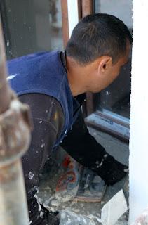 Plastering around the windows