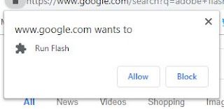 Flash Player permission pop-up in browser