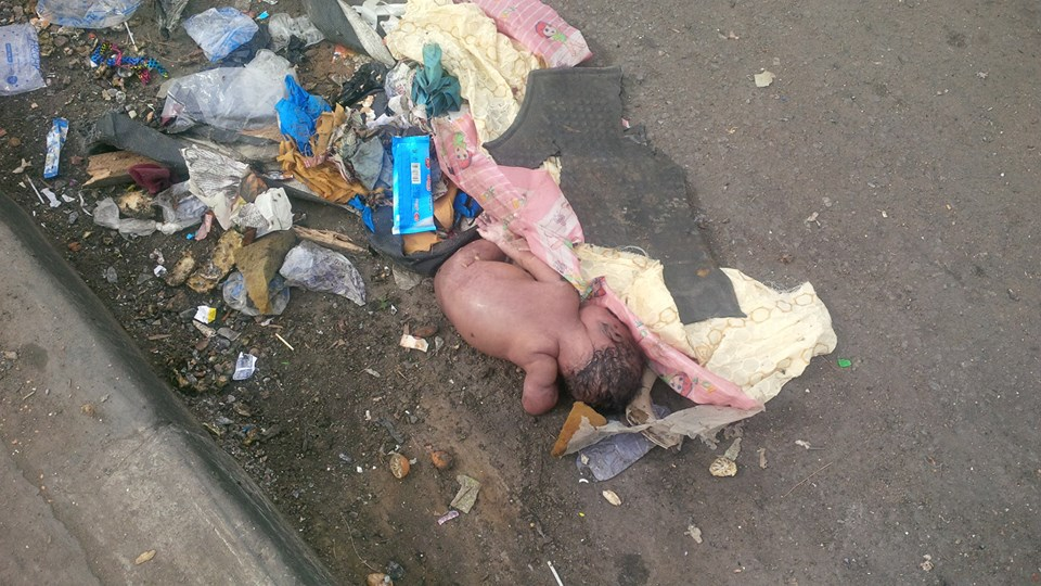 Image result for Woman abandons newborn baby in Lagos