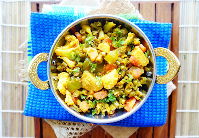dry mix vegetable,punjabi recipes,vegetable sabji