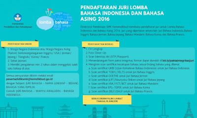 Pendaftaran Juri Lomba Bahasa 2016