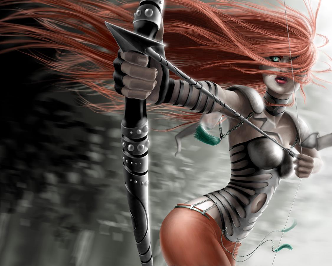Gadis pemberani hd 3d yang mempesona dengan wallpaper pertarungan