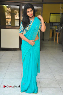Telugu Actress Alekhya Stills in Green Saree at Swachh Hyderabad Cricket Press Meet  0097.JPG