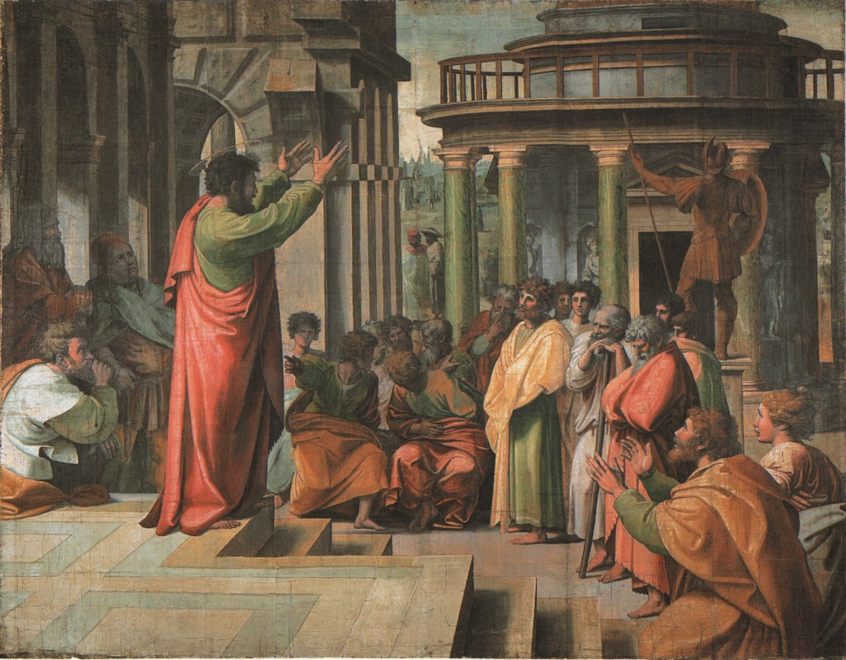 St Paul Preaching At Athens (1515), oil paint on canvas by Raphael (1483-1520). The Ashmolean Museum of Art and Archaeology.