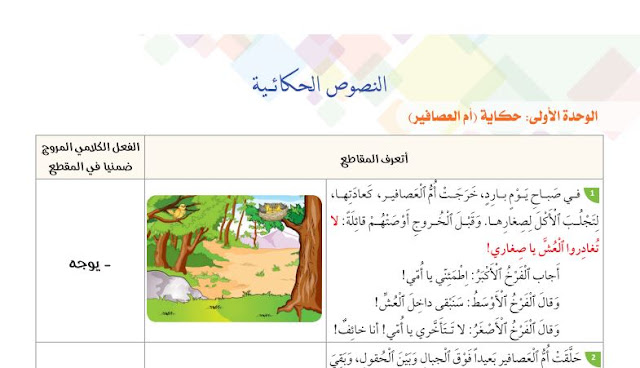 نصوص الحكايات في رحاب اللغة العربية المستوى الثاني