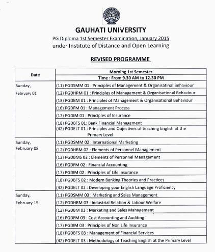 IDOL Guwahati University PG Diploma 1st Sem Examination Schedule