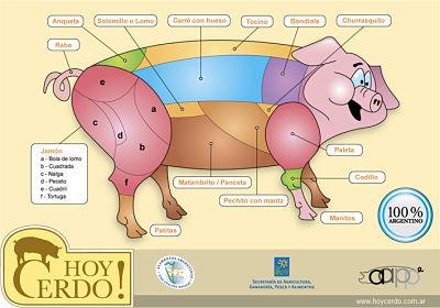 Cortes del cerdo en castellano de Argentina