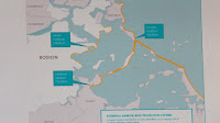 The yellow line represents Kirshen's proposed hurricane barrier (Credit: WBZ-TV) Click to Enlarge.