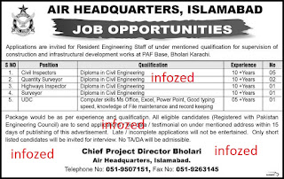Applications are invited for Resident Engineering Staff of under mentioned qualification for supervision of construction and infrastructural development works at PAF BAse Bholari Karachi.  1. Civil Inspectors 2. Quantity Surveyor 3. Highways Inspector 4. Surveyor 5. UDC  Send your applications for jobs to Chief Project Director Bholari Air Headquarters, Islamabad Telephone No. 051-9507151
