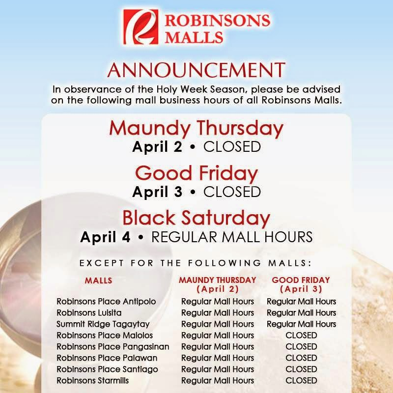 Robinsons Mall Hours Schedule 2015